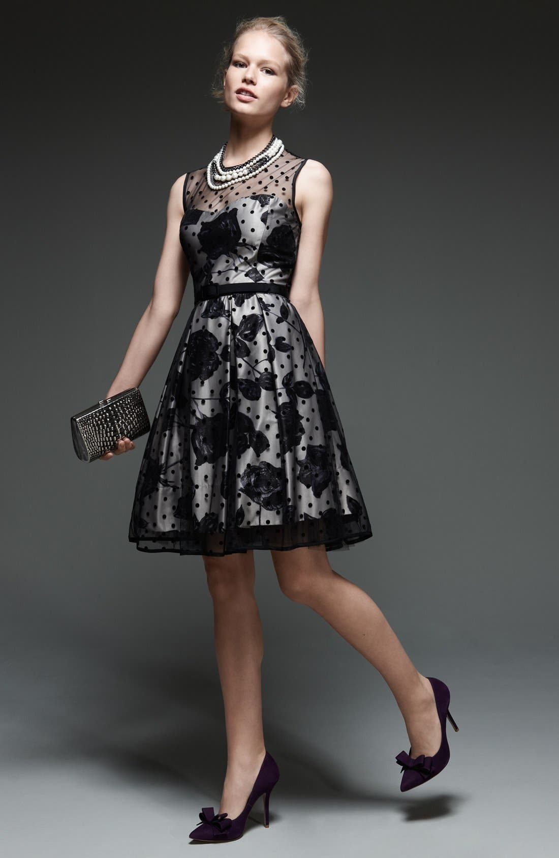 Alternate Image 6  - Eliza J Illusion Dot Print Fit & Flare Dress