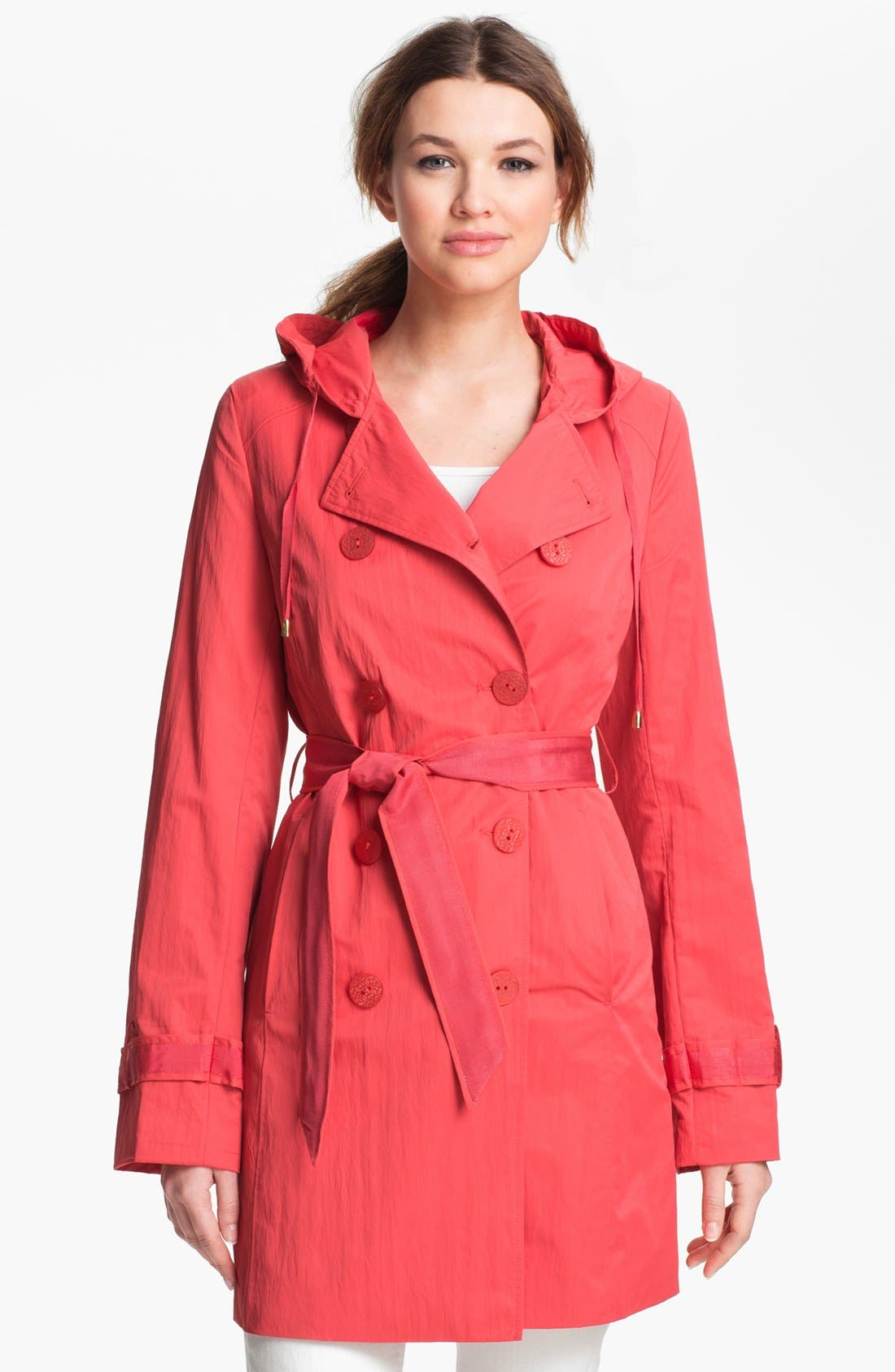 Alternate Image 1 Selected - Tahari 'Morely' Hooded Trench Coat (Regular & Petite)
