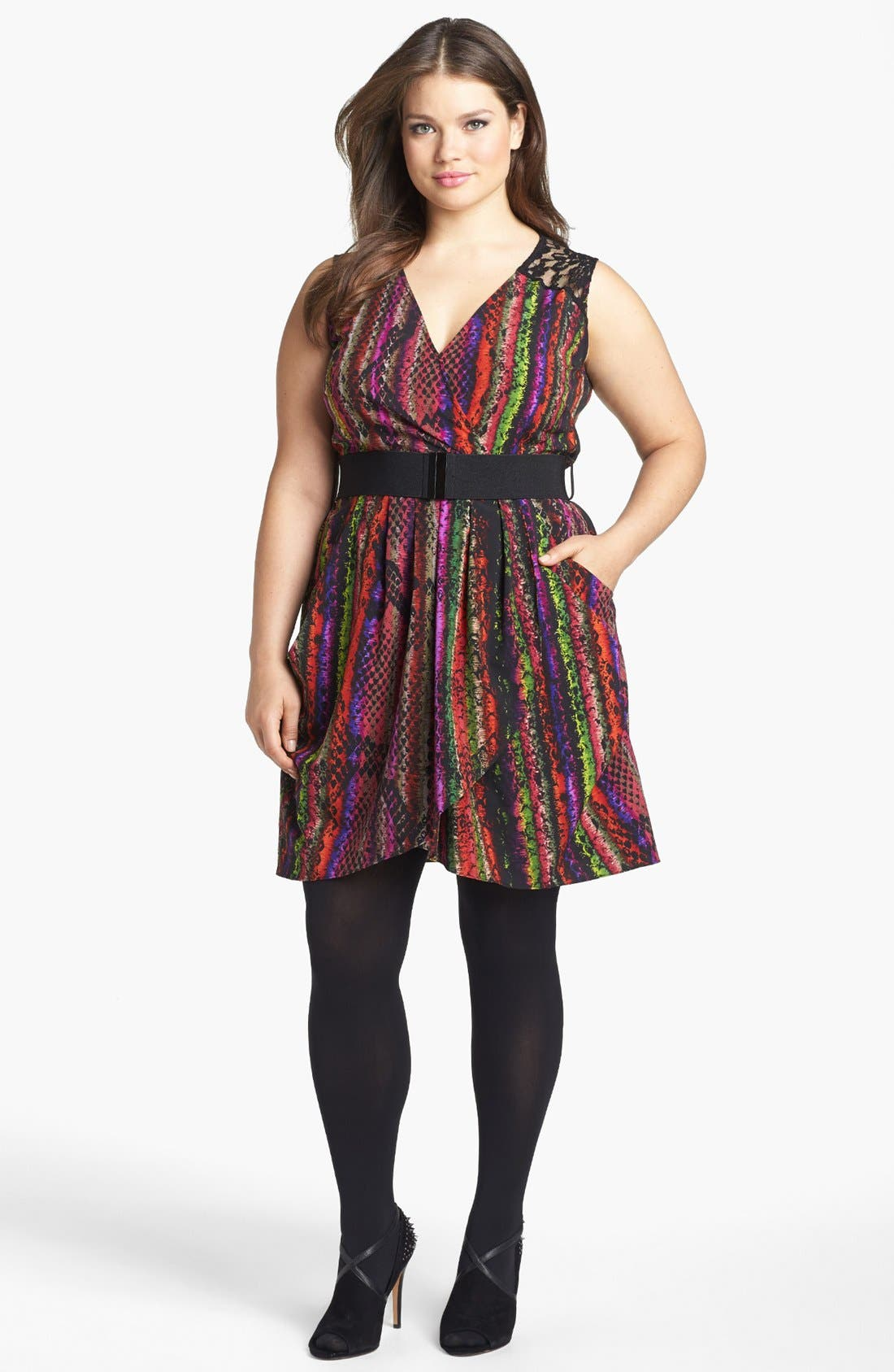 Alternate Image 1 Selected - City Chic 'Rainbow Serpent' Lace Trim Print Top(Plus Size)