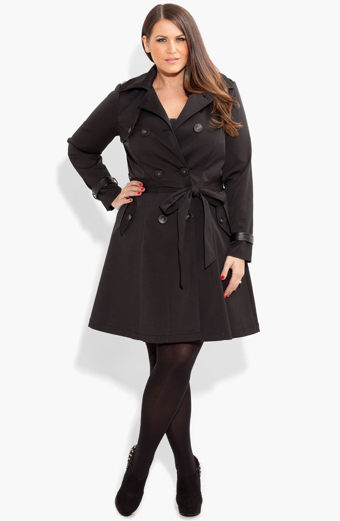 Alternate Image 1 Selected - City Chic Corset Back Trench Coat (Plus Size)