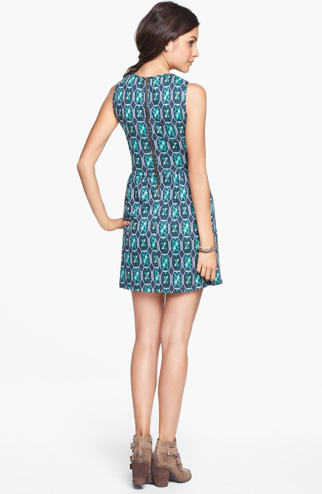 Alternate Image 2  - Mimi Chica Cutout Print Skater Dress (Juniors)