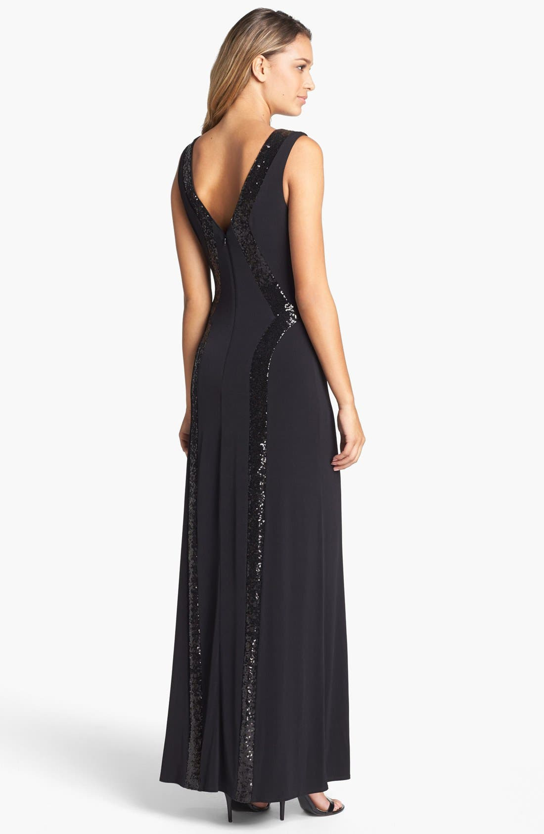 Alternate Image 2  - Laundry by Shelli Segal Sequin Trim Jersey Gown
