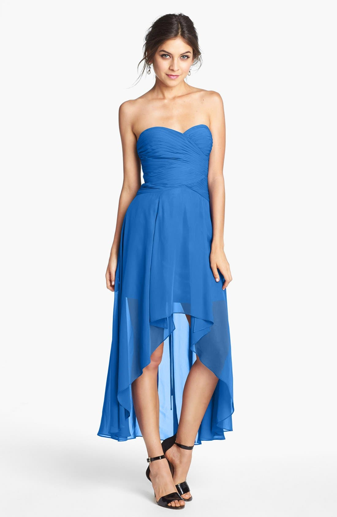 Alternate Image 1 Selected - Hailey Logan Ruched Bodice Chiffon High/Low Dress (Juniors) (Online Only)