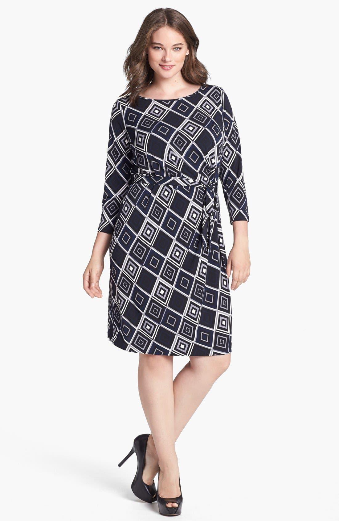 Main Image - Anne Klein Print Faux Wrap Jersey Dress (Plus Size)