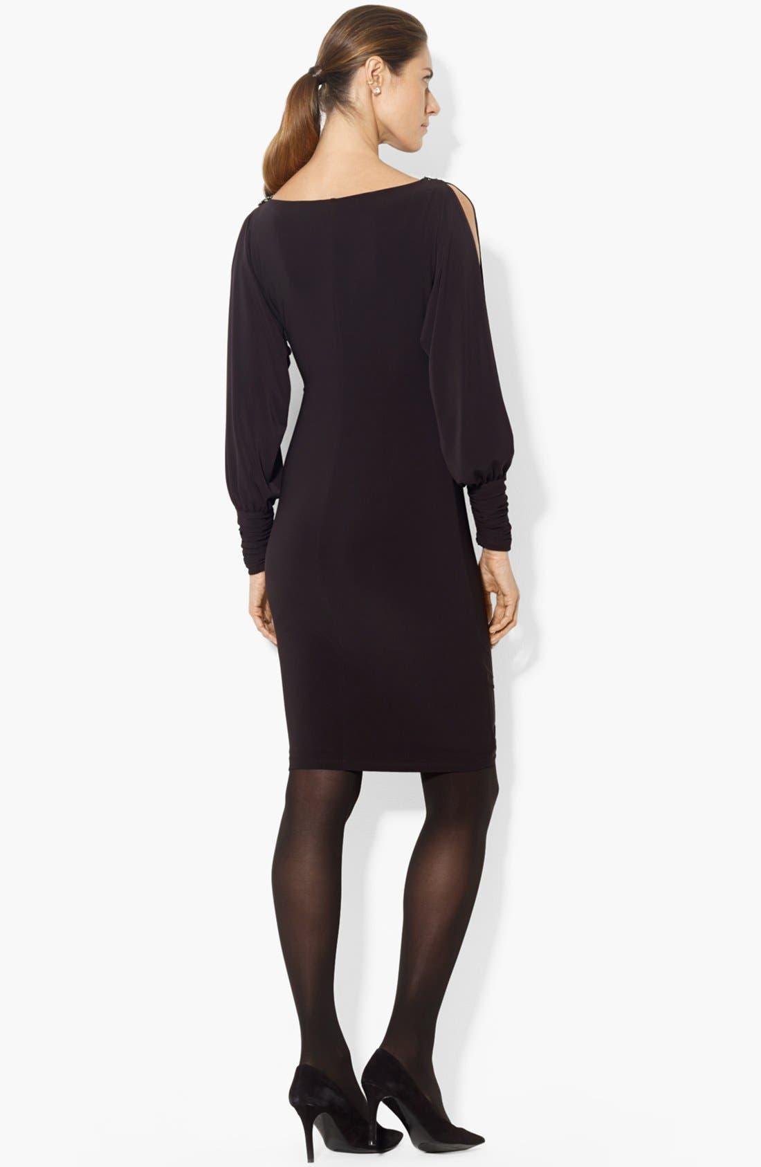 Alternate Image 2  - Lauren Ralph Lauren Split Sleeve Matte Jersey Sheath Dress