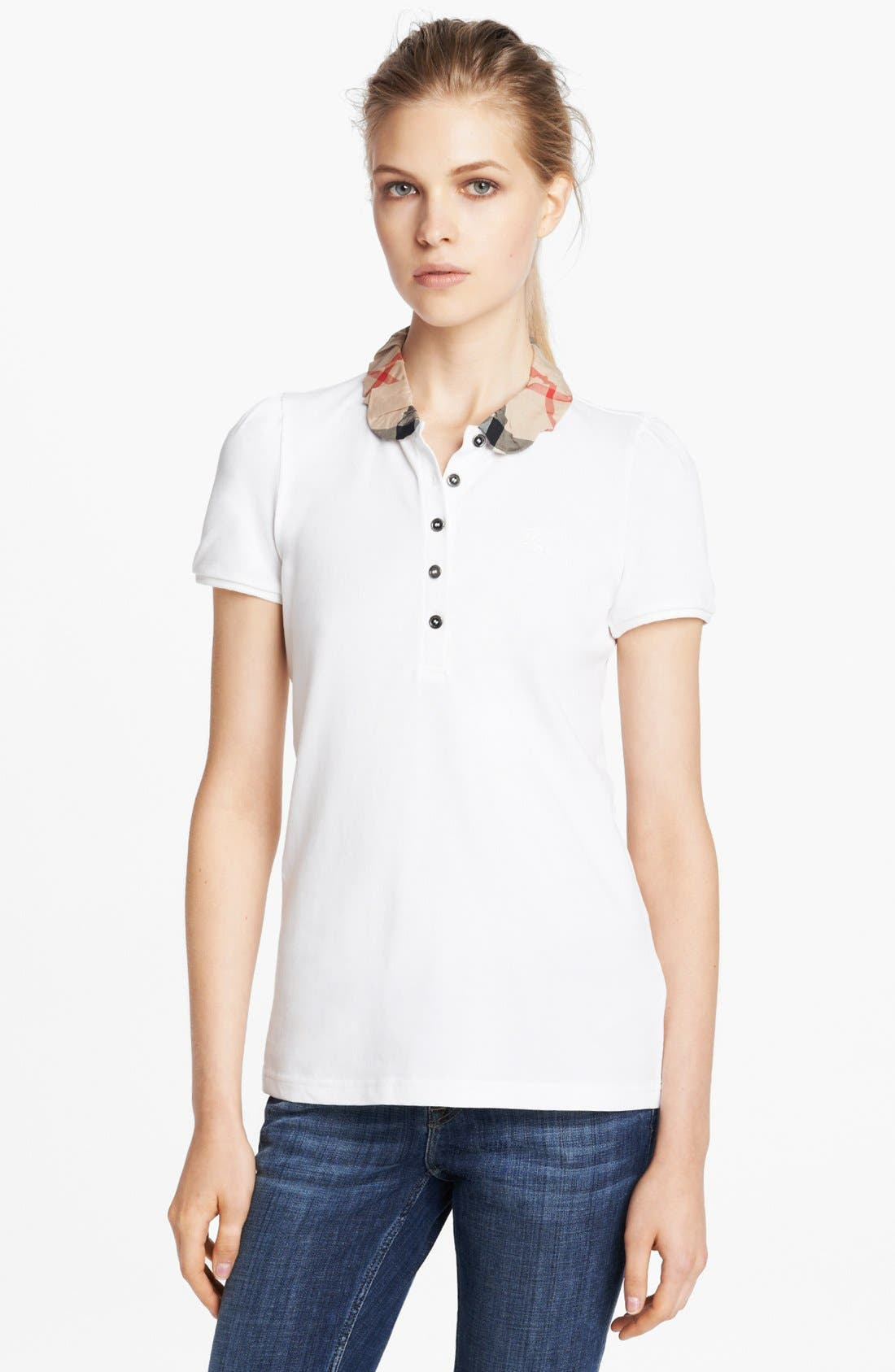 Alternate Image 1 Selected - Burberry Brit Ruched Collar Polo