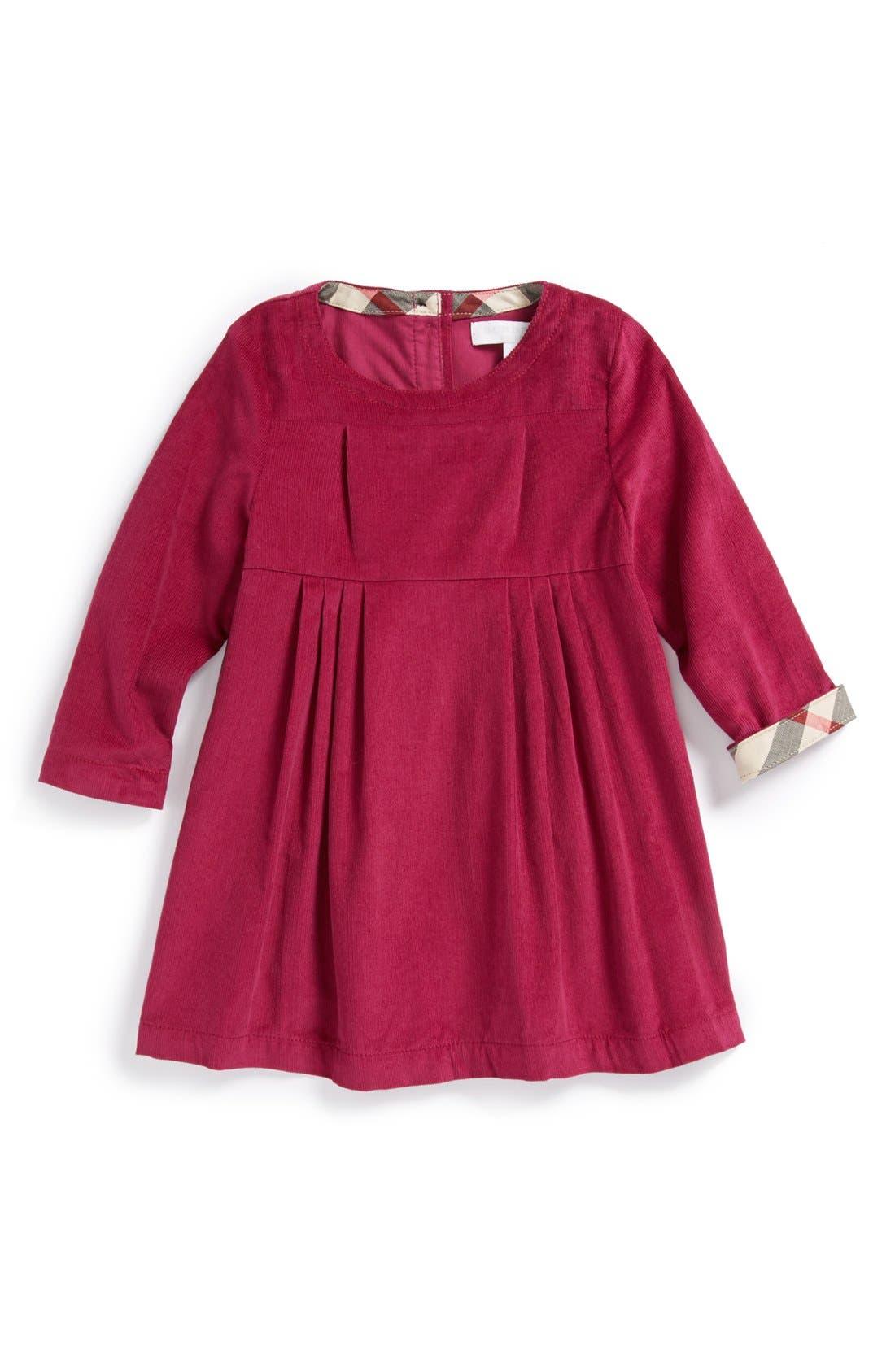 Main Image - Burberry 'Rebecca' Corduroy Dress (Baby Girls)