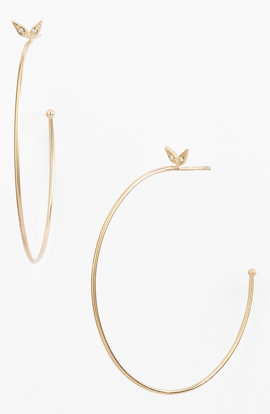 Alternate Image 1 Selected - Mizuki 'Wings of Desire' Diamond Hoop Earrings