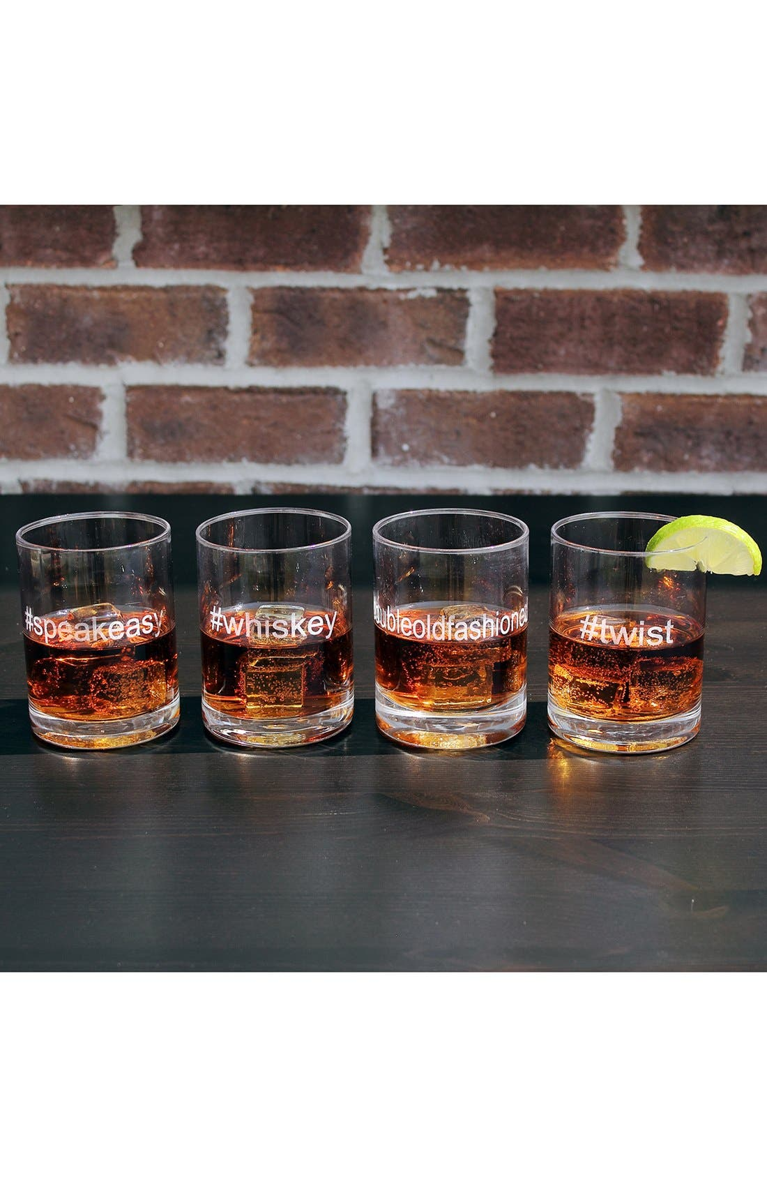 Alternate Image 1 Selected - '#speakeasy #whiskey #doubleoldfashioned #twist' Etched Double Old Fashioned Glasses (Set of 4)