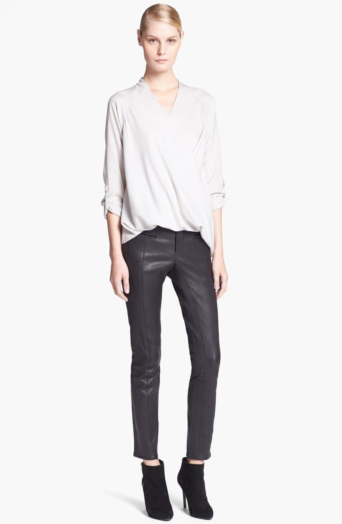 Alternate Image 2  - Helmut Lang Blouse & Leather Pants