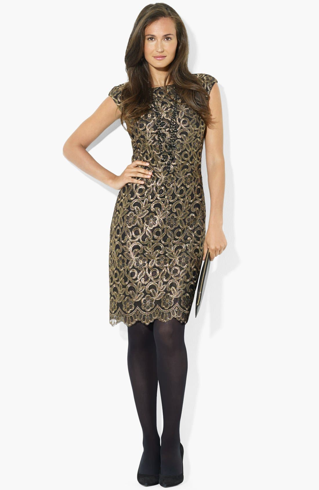 Main Image - Lauren Ralph Lauren Cap Sleeve Lace Sheath Dress