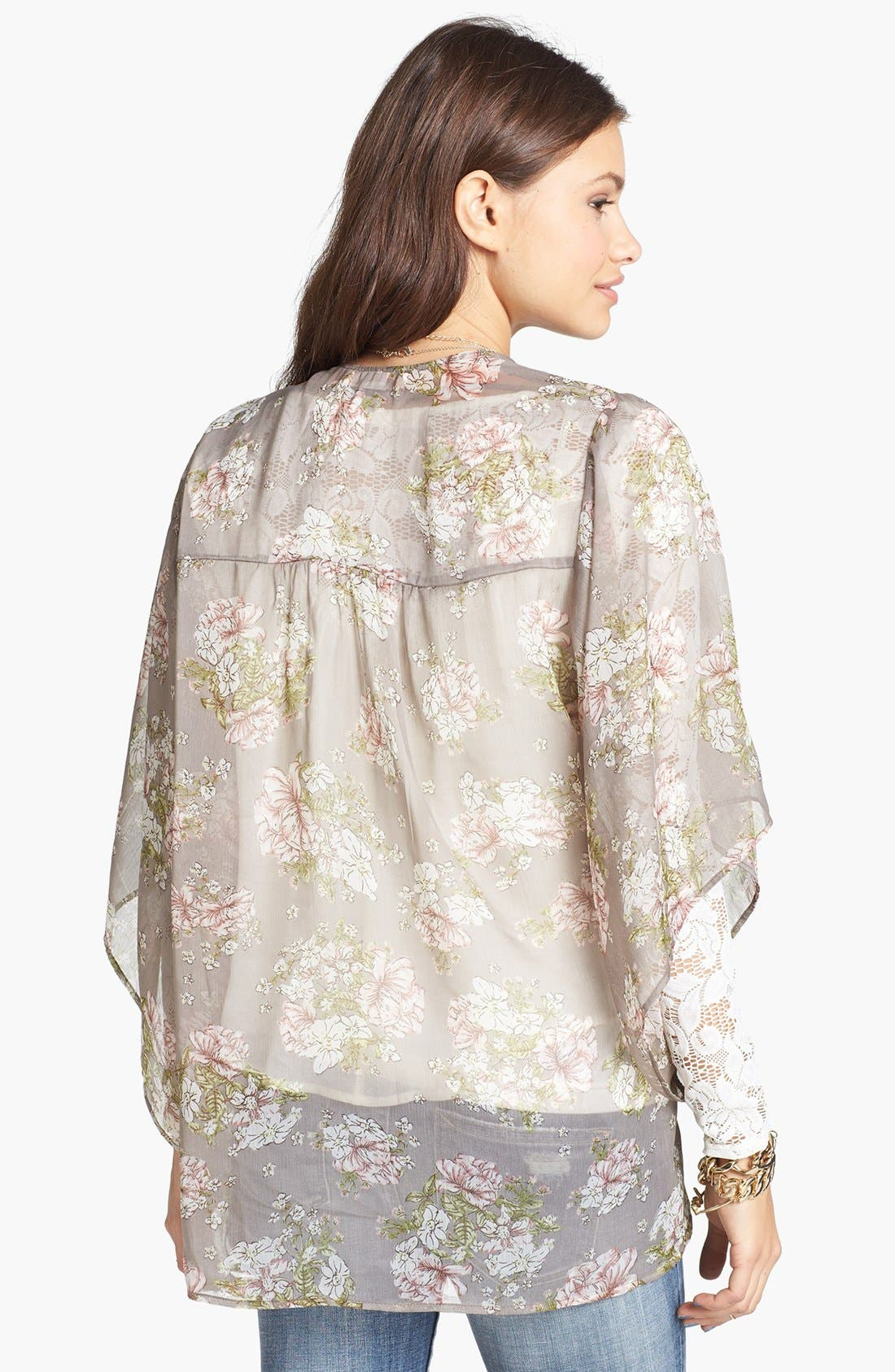 Alternate Image 2  - Band of Gypsies Sheer Print Kimono (Juniors)
