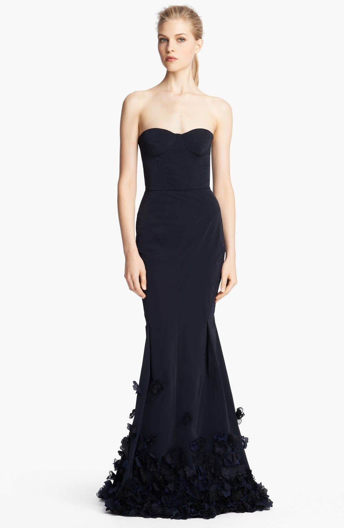 Main Image - Nina Ricci Strapless Floral Embroidered Gown