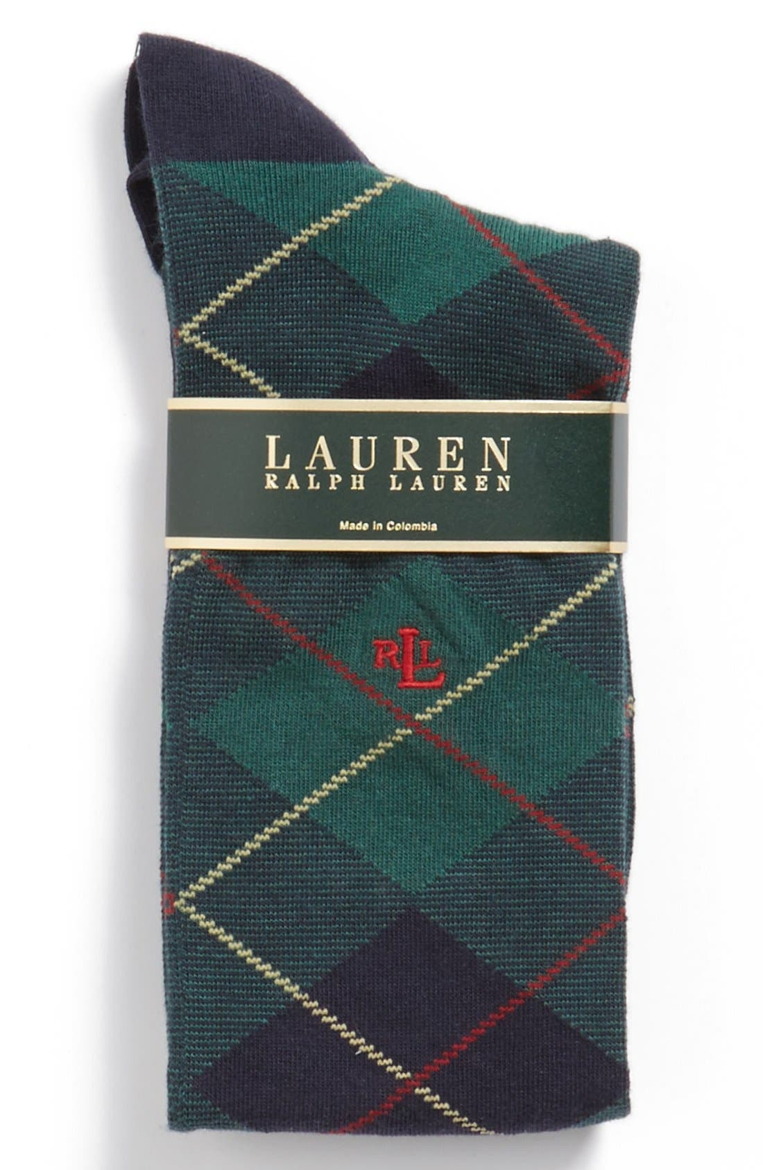 Main Image - Ralph Lauren Argyle Plaid Knee High Socks