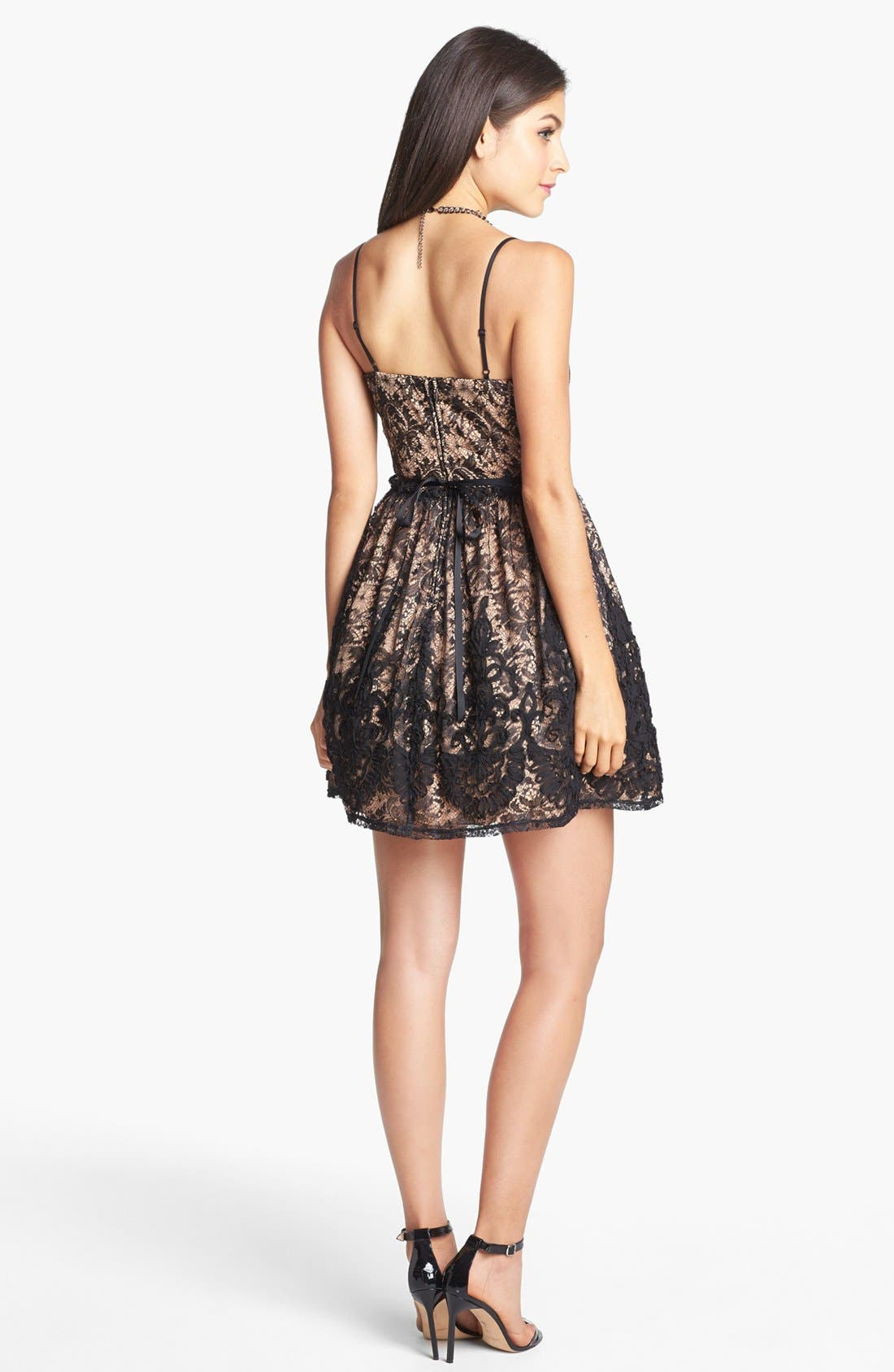 Alternate Image 2  - Way-In Lace Fit & Flare Dress (Juniors)