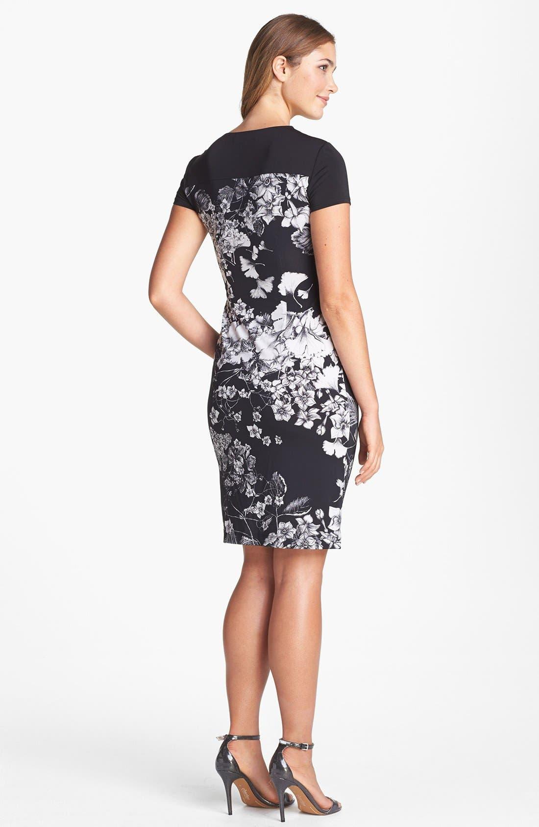 Alternate Image 2  - BCBGMAXAZRIA Print Side Drape Jersey Sheath Dress