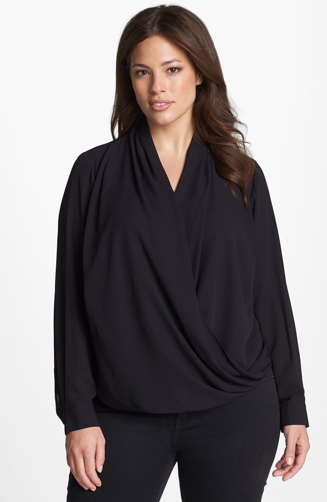Alternate Image 1 Selected - Vince Camuto Wrap Front Shirttail Blouse (Plus Size)