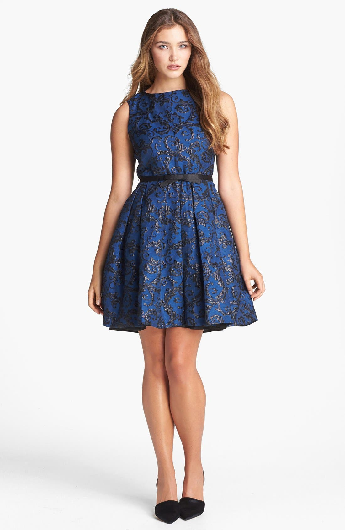 Alternate Image 1 Selected - Taylor Dresses Metallic Jacquard Fit & Flare Dress