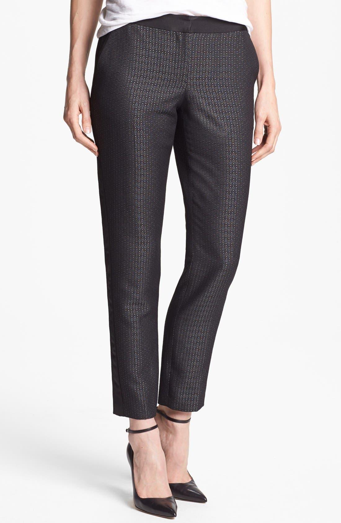 Main Image - Halogen® 'Quinn' Tuxedo Jacquard Skinny Ankle Pants (Petite)