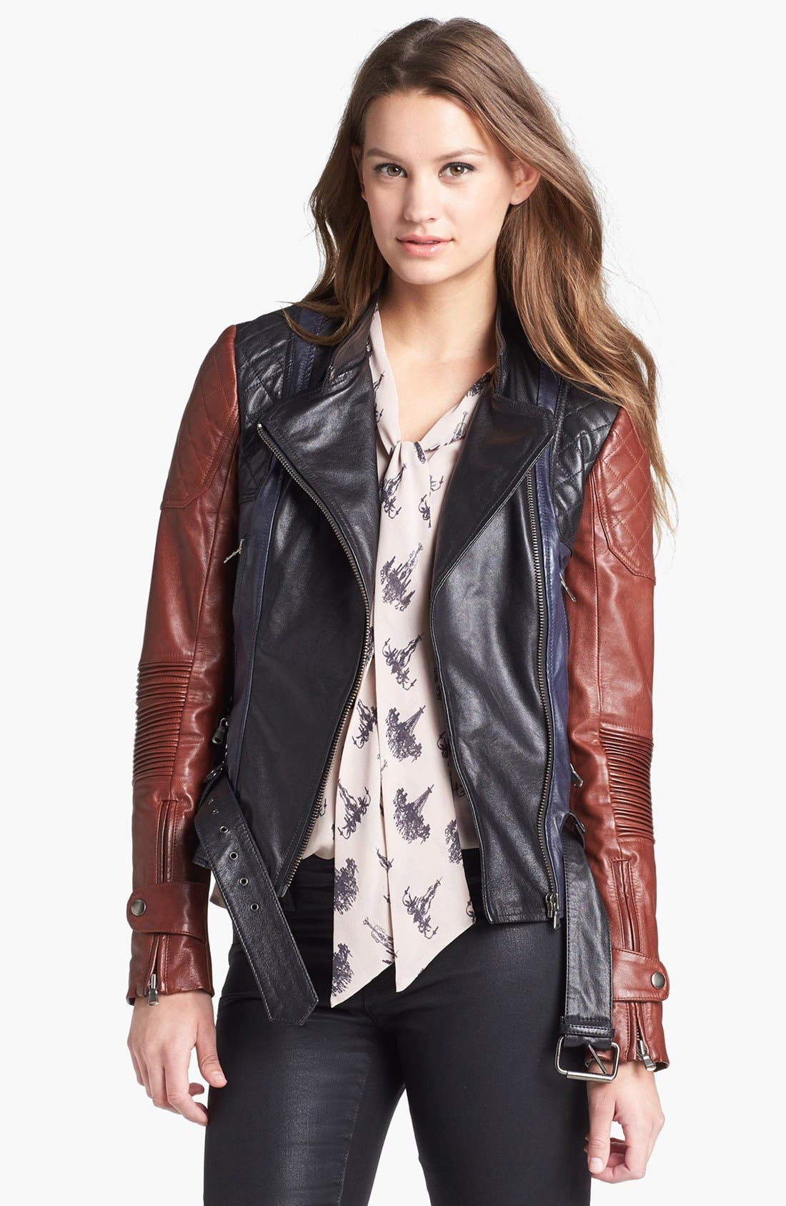 Main Image - Kenna-T Essential Colorblock Leather Moto Jacket (Petite)