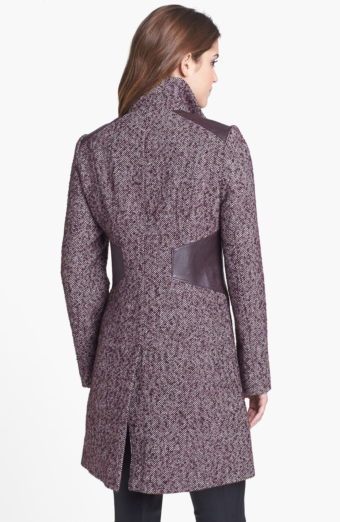 Alternate Image 2  - Via Spiga Faux Leather Trim Herringbone Tweed Coat