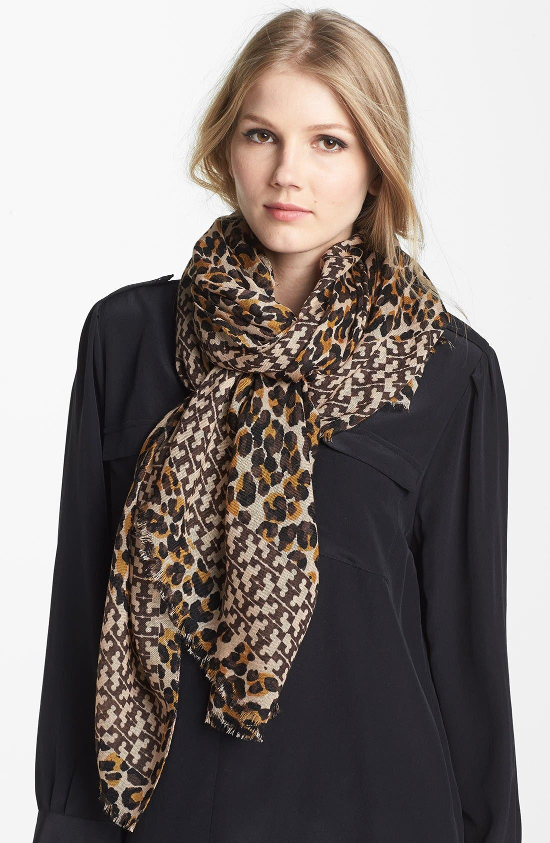 Main Image - Tory Burch 'Panthra - Small T' Wool Scarf