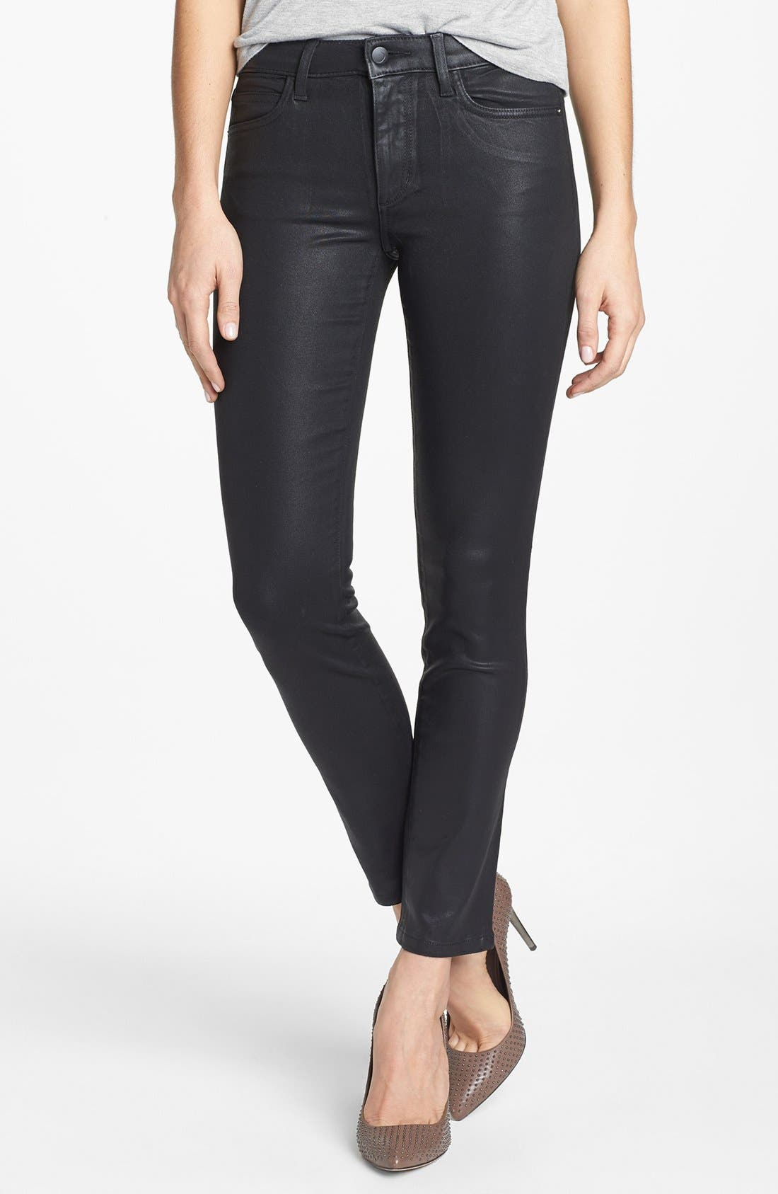 Alternate Image 1 Selected - Joe's Coated Skinny Ankle Jeans (Jet Black)