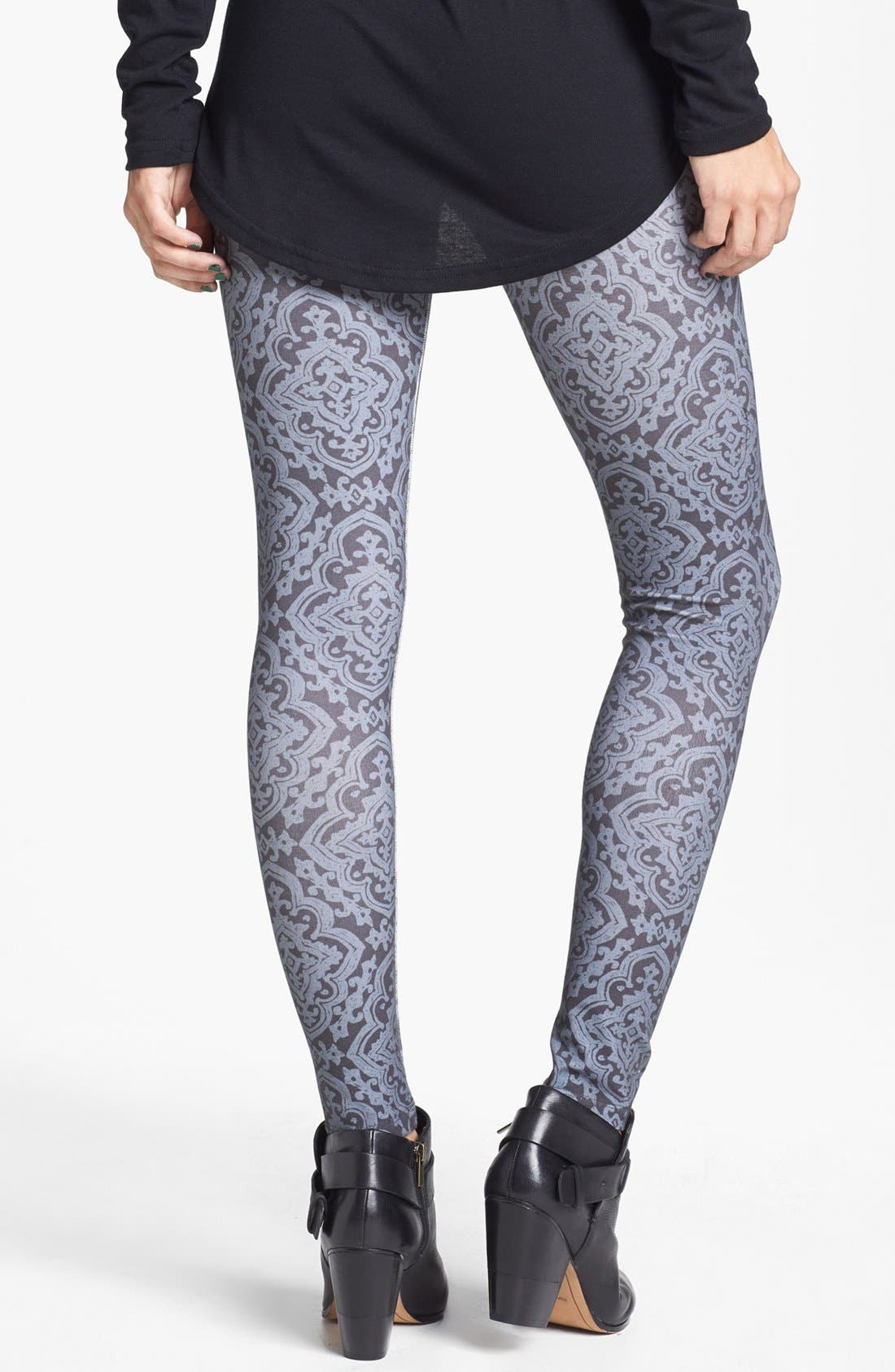 Alternate Image 2  - Mimi Chica Print Leggings (Juniors)