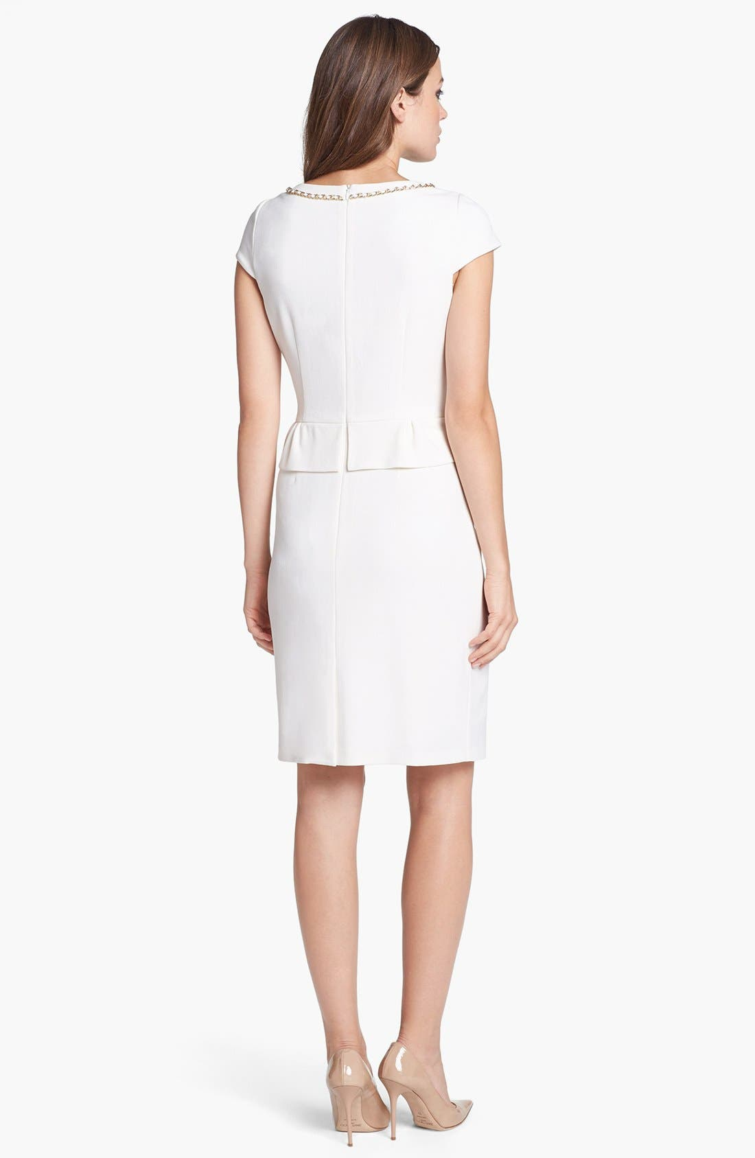 Alternate Image 3  - Tahari Chain Detail Stretch Crepe Peplum Sheath Dress