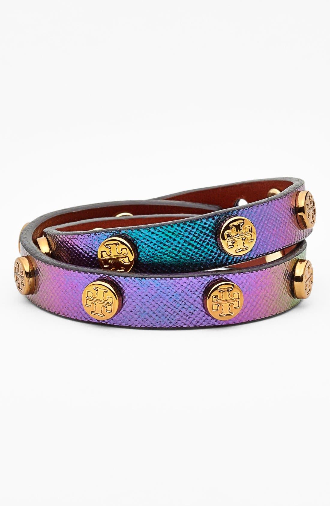 Main Image - Tory Burch Logo Hologram Leather Wrap Bracelet