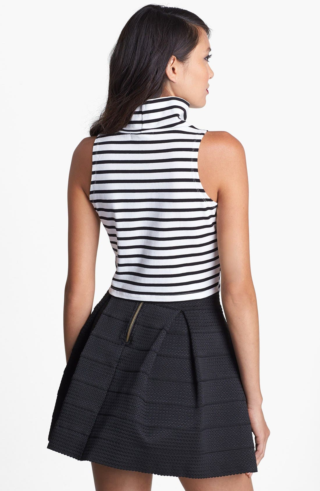 Alternate Image 2  - Glamorous Mock Neck Stripe Crop Tank