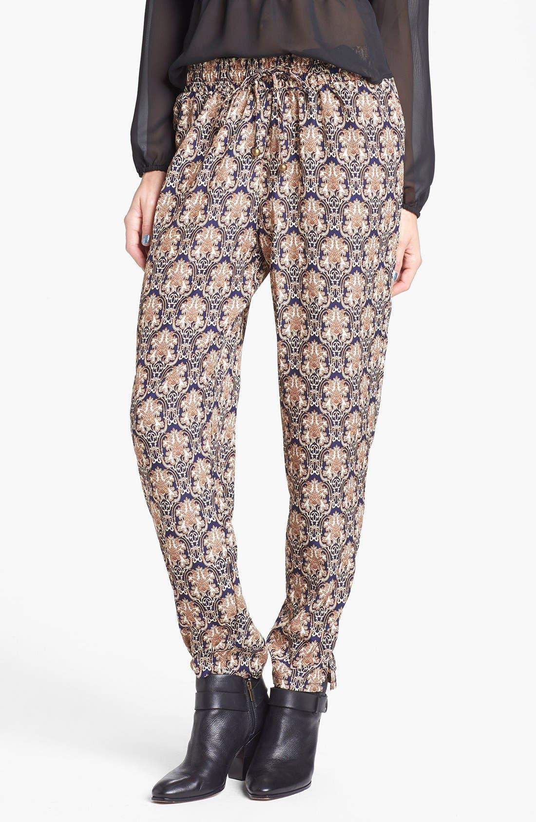 Alternate Image 1 Selected - Blu Pepper Damask Print Harem Pants (Juniors)
