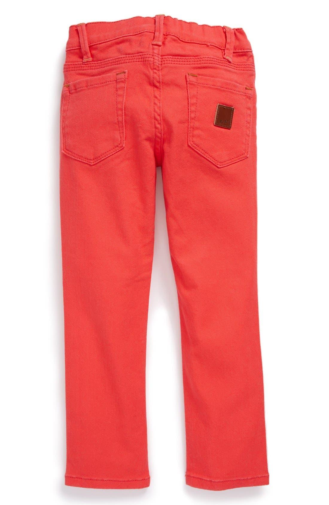 Alternate Image 1 Selected - Roxy 'Skinny Rails' Skinny Jeans (Little Girls)