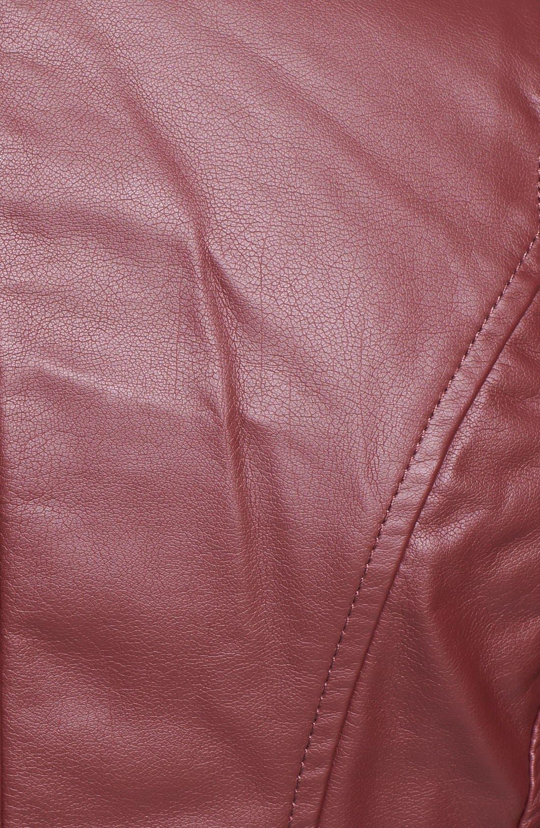 Alternate Image 3  - Collection B Faux Leather Peplum Moto Jacket (Juniors)