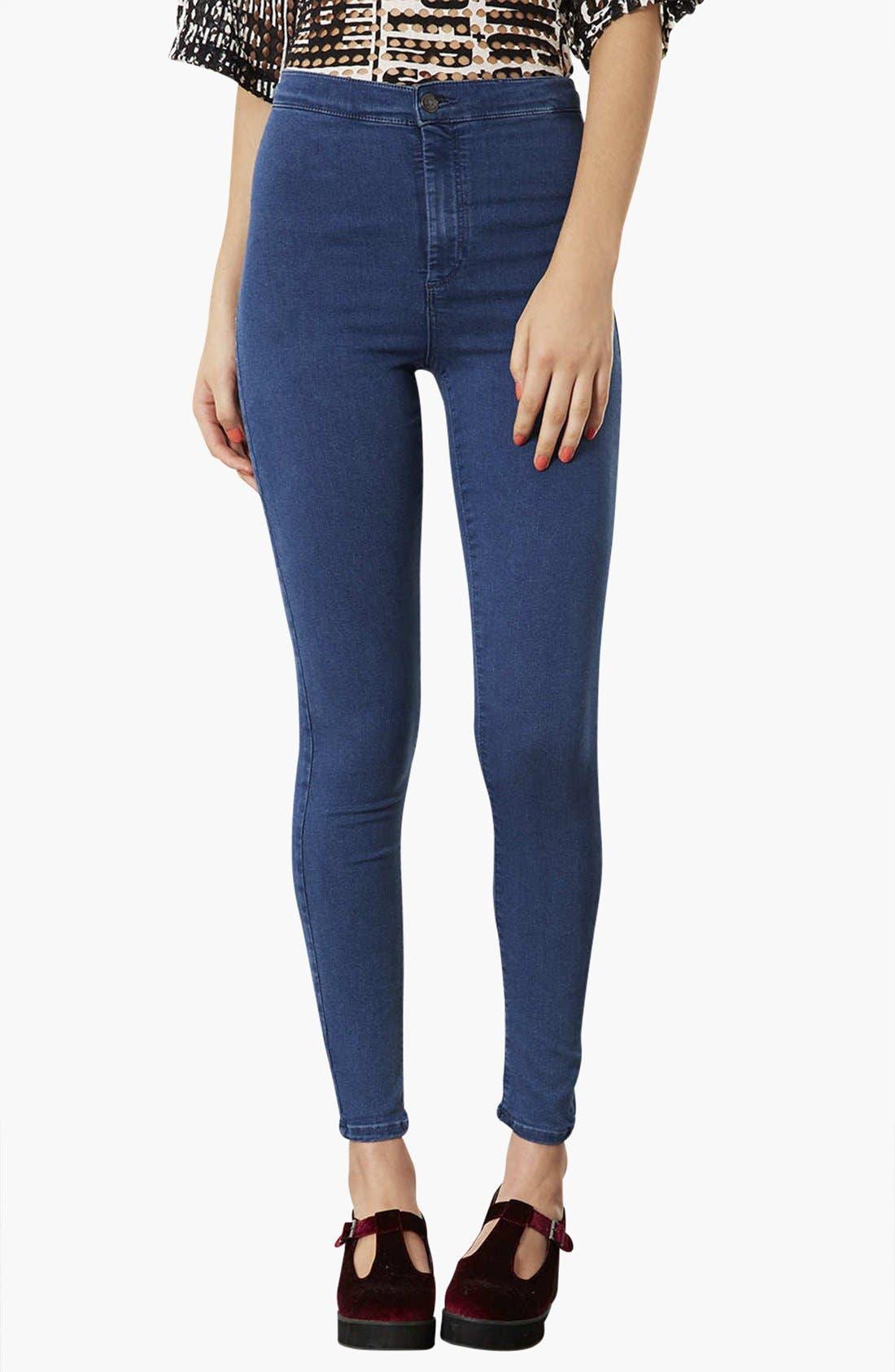 Main Image - Topshop Moto 'Joni' High Rise Skinny Jeans (Dark Stone) (Regular, Short & Long)