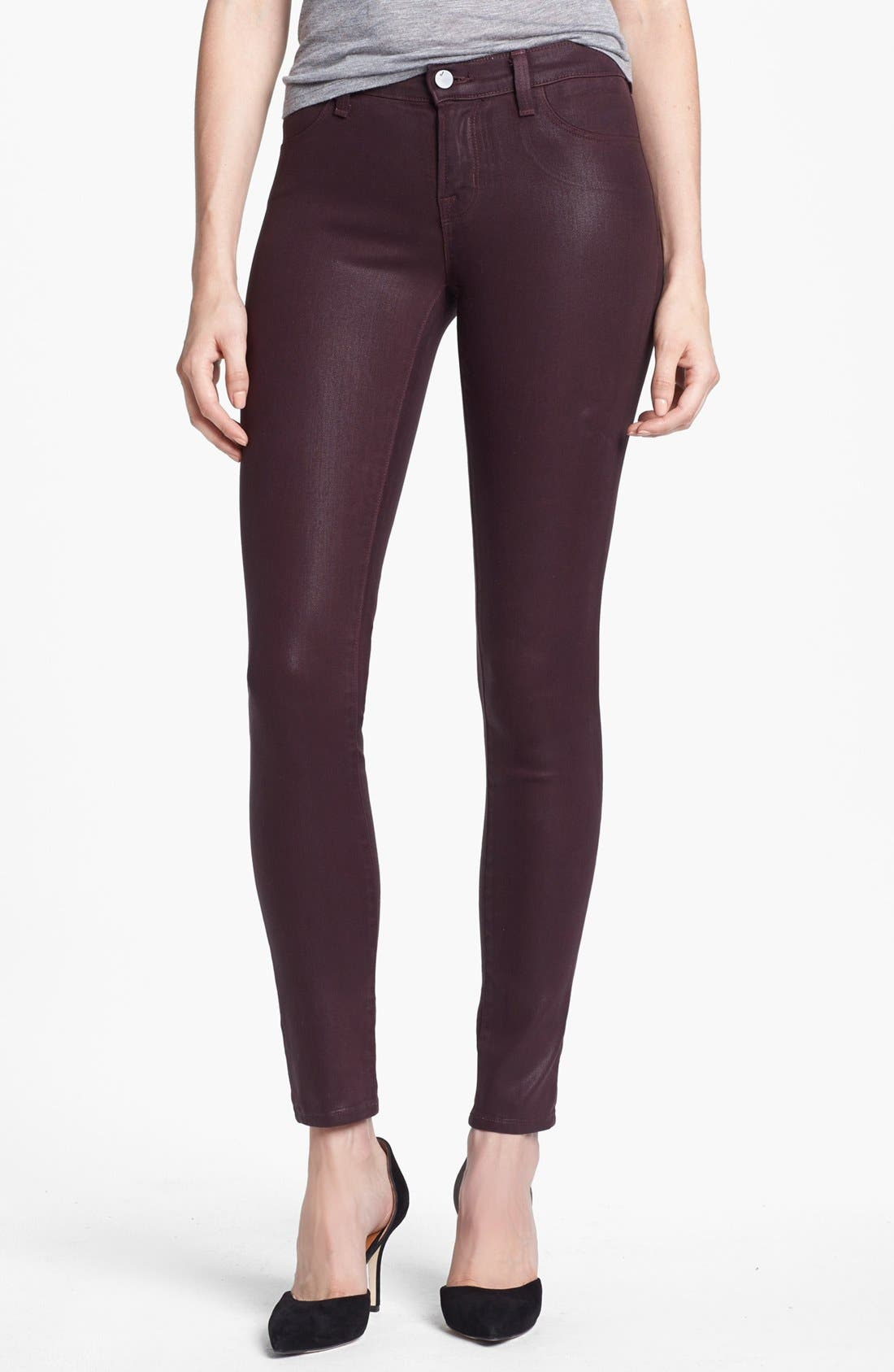 Main Image - J Brand '485' Coated Skinny Jeans (Laquered Pinot)