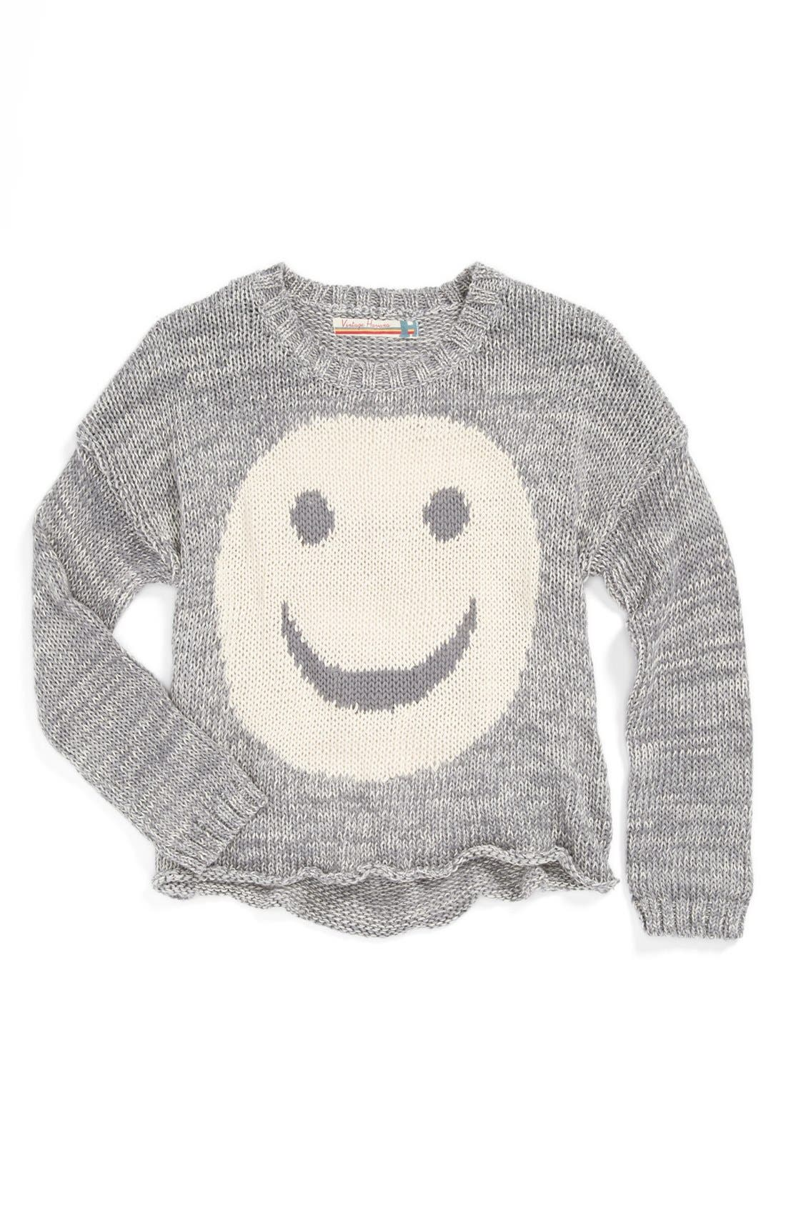 Alternate Image 1 Selected - Vintage Havana 'Big Smiley' Sweater (Little Girls & Big Girls)