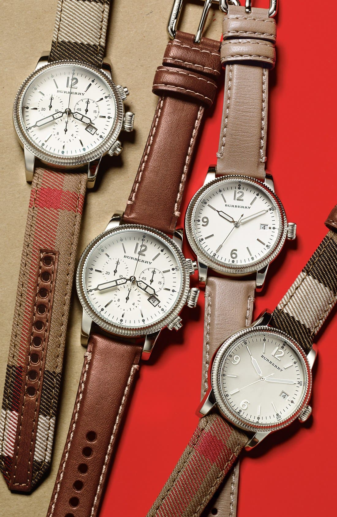 Alternate Image 5  - Burberry Round Dial Check Strap Watch, 38mm