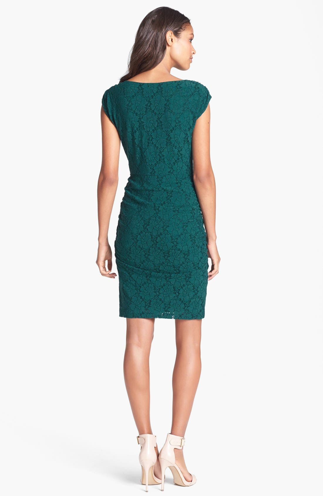 Alternate Image 2  - Laundry by Shelli Segal Cap Sleeve Shirred Lace Dress