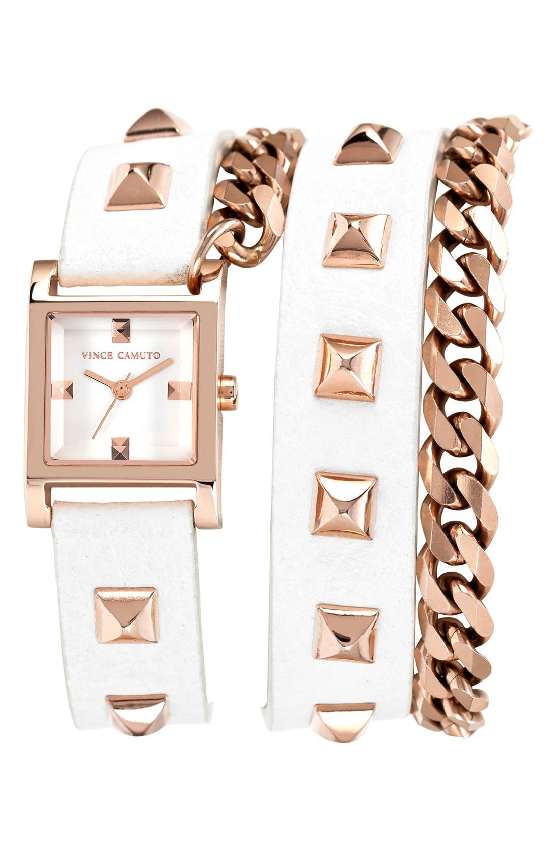 Alternate Image 1 Selected - Vince Camuto Double Wrap Chain & Leather Strap Watch, 21mm