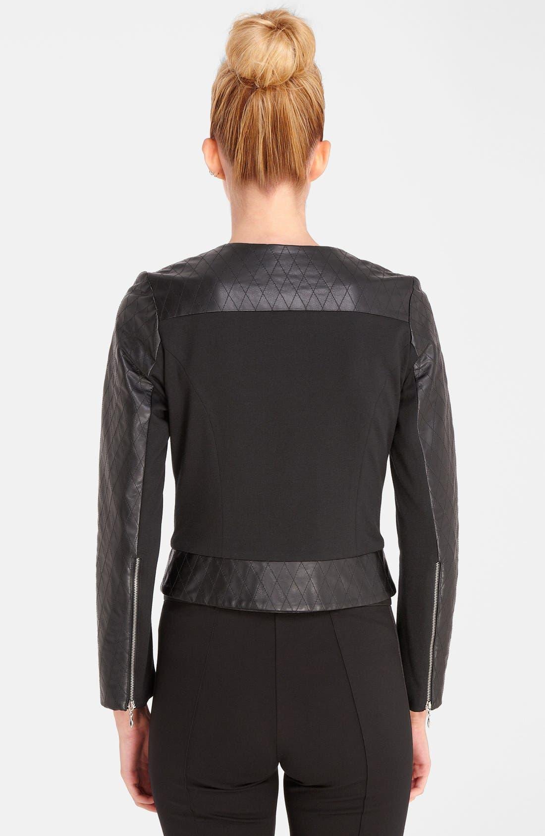 Alternate Image 2  - Catherine Catherine Malandrino Quilted Faux Leather Bomber Jacket