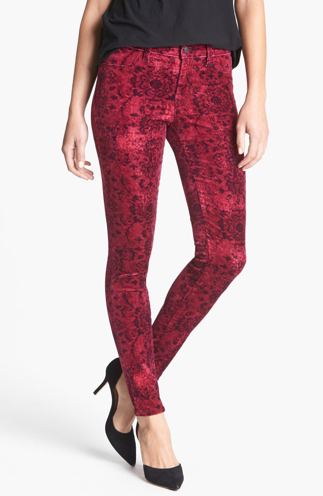 Alternate Image 1 Selected - J Brand '815' Mid Rise Print Velveteen Super Skinny Jeans (Gaya)