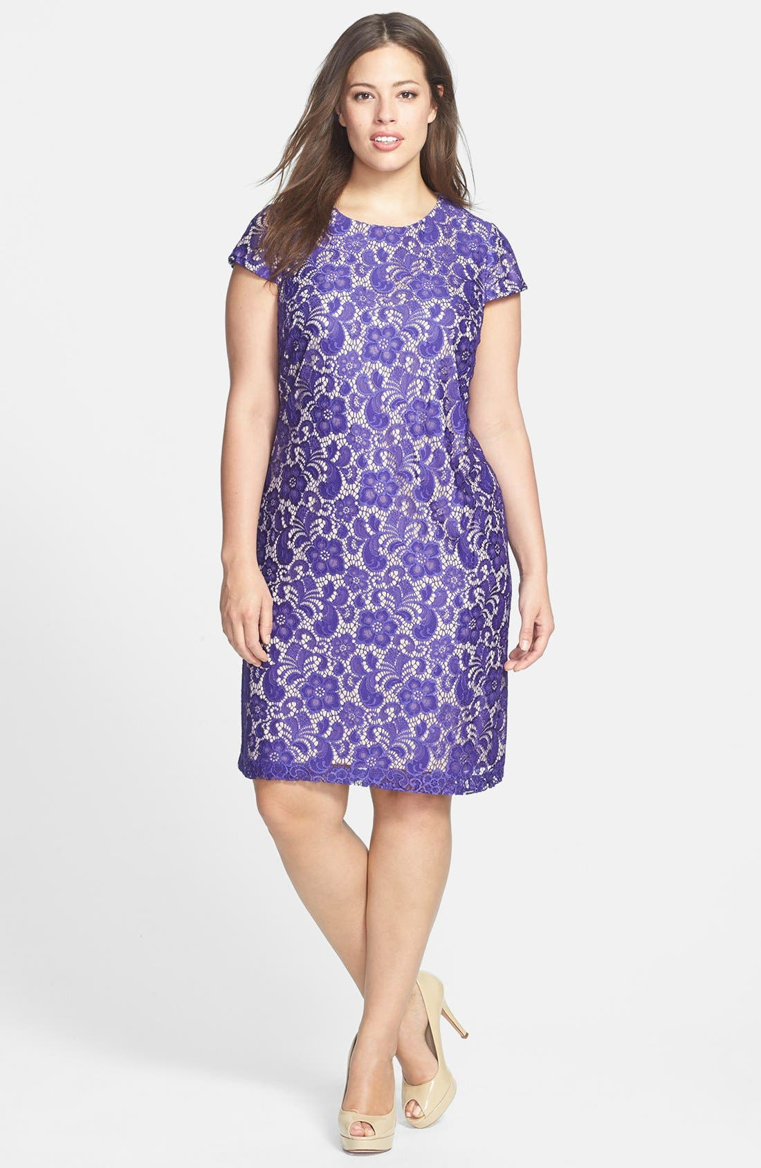 Alternate Image 1 Selected - Ivy & Blu Lace Shift Dress (Plus Size)