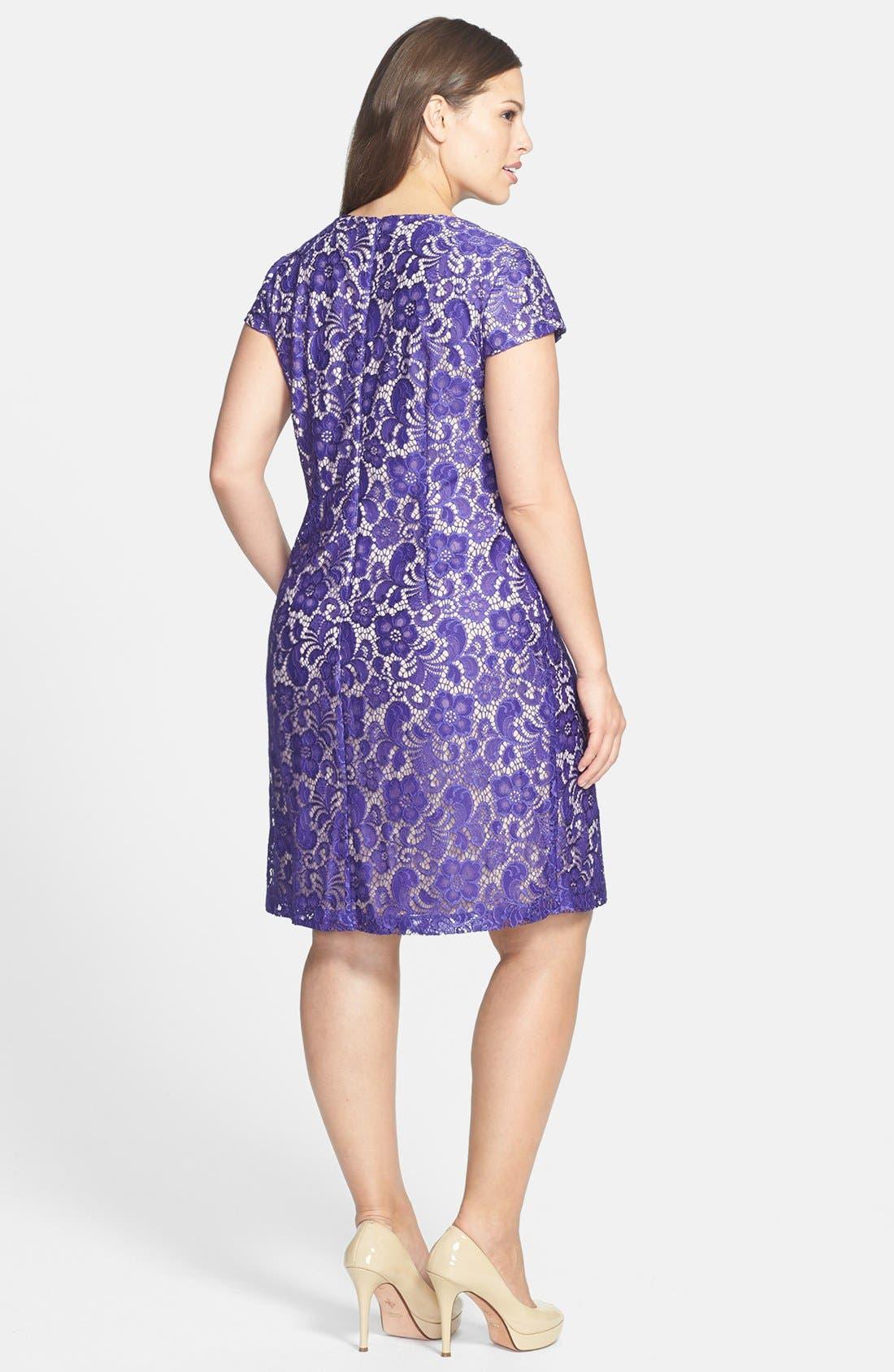 Alternate Image 2  - Ivy & Blu Lace Shift Dress (Plus Size)