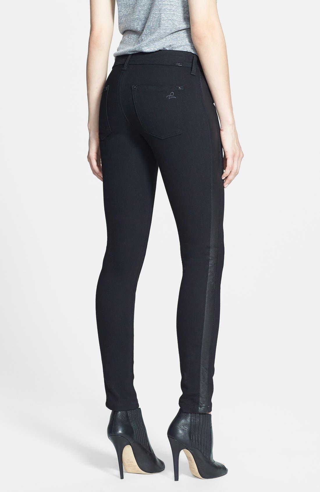 Alternate Image 2  - DL1961 'Emma' Leather Tuxedo Stripe Skinny Jeans (Ravenna)