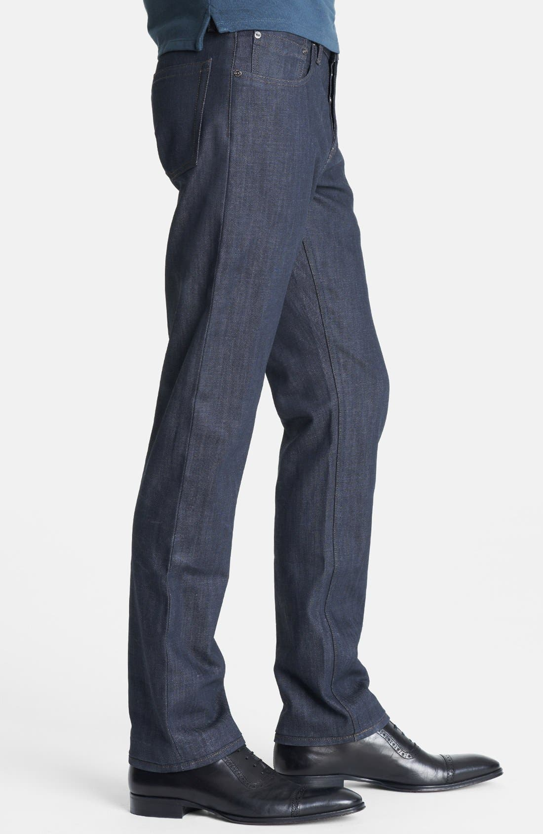 Alternate Image 3  - Burberry London Coated Slim Fit Jeans (Navy)