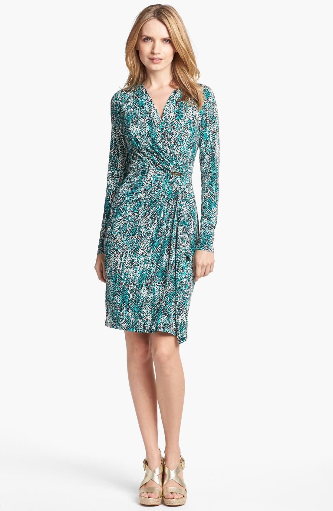Main Image - MICHAEL Michael Kors Print Faux Wrap Dress (Petite)