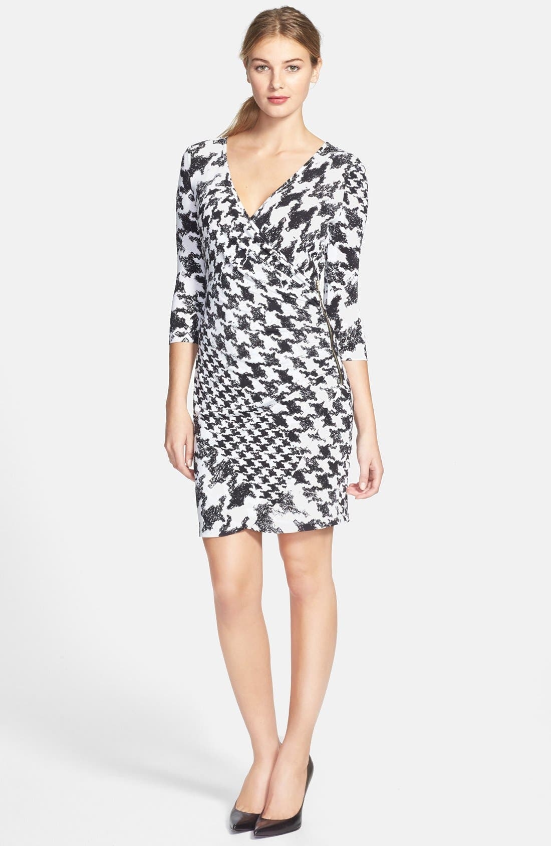 Alternate Image 2  - GUESS Houndstooth Print Faux Wrap Jersey Dress