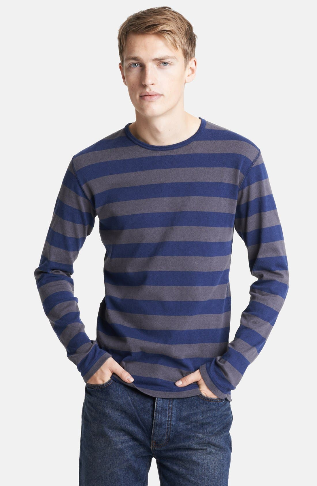 Alternate Image 1 Selected - Junya Watanabe Stripe Jersey Cotton Long Sleeve T-Shirt