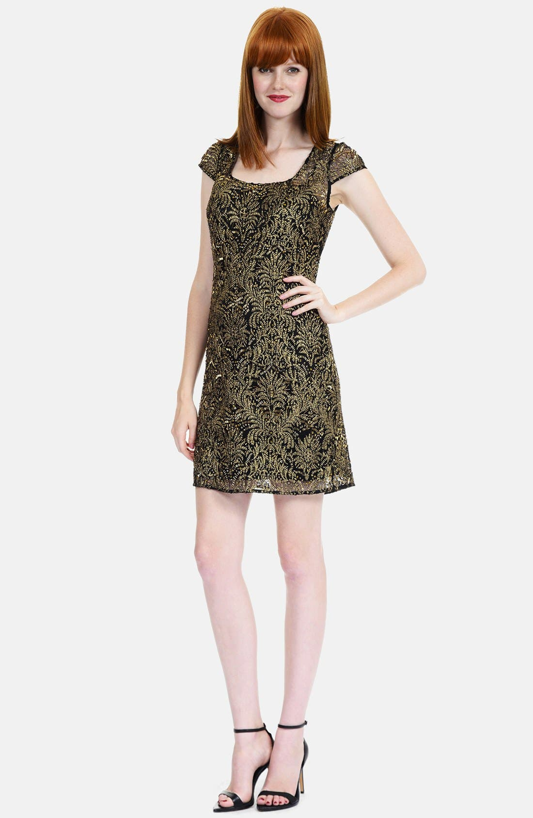 Main Image - Kay Unger Embroidered Shift Dress